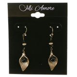 Gold-Tone & Black Colored Metal Dangle-Earrings With Crystal Accents #2131