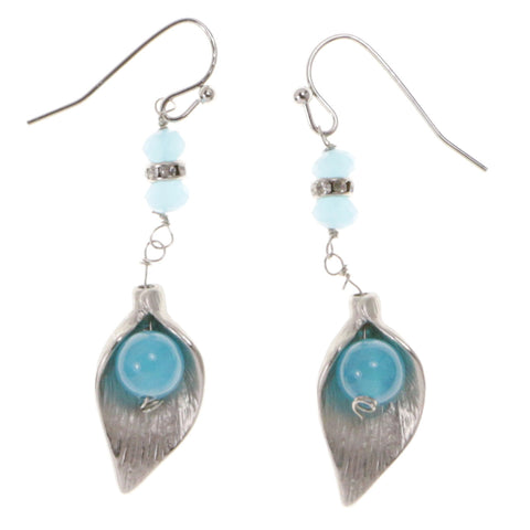 Blue & Silver-Tone Colored Metal Dangle-Earrings With Crystal Accents #2132