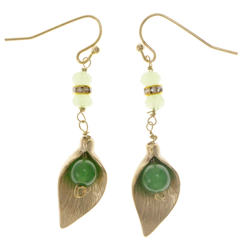 Leaves Dangle-Earrings With Crystal Accents Green & Gold-Tone Colored #2134