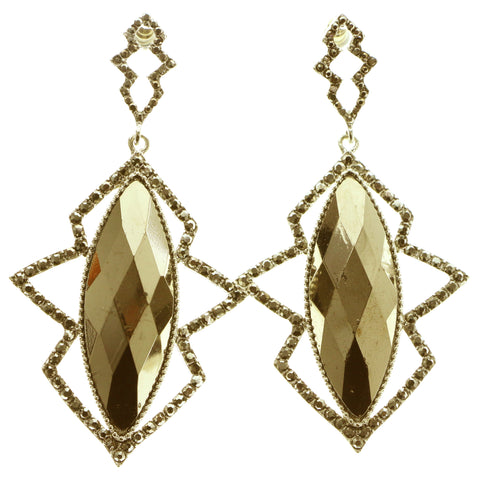 Gold-Tone & Brown Colored Metal Dangle-Earrings With Faceted Accents #599