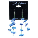 Blue & Green Colored Acrylic Dangle-Earrings With Stone Accents #2143