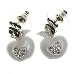 Apples Bear Dangle-Earrings With Crystal Accents White & Silver-Tone Colored #2147