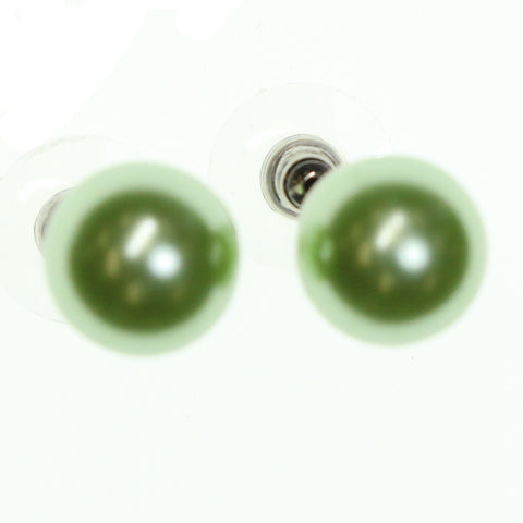Green Metal Stud-Earrings With Colorful Accents #2149