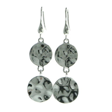 Beaten Metal Drop-Dangle-Earrings Silver-Tone Color  #604