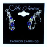 Silver-Tone & Multi Colored Metal Clip-On-Earrings With Faceted Accents #2163