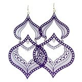 Filigree Drop-Dangle-Earrings Purple Color  #605