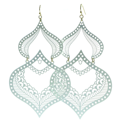 Filigree Drop-Dangle-Earrings White Color  #606