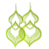Filigree Drop-Dangle-Earrings Yellow Color  #607