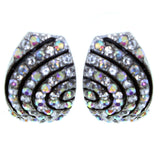 Black & Clear Colored Metal Stud-Earrings With Crystal Accents #2171