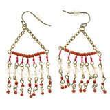 Gold-Tone & Multi Colored Metal Dangle-Earrings With Bead Accents #2173
