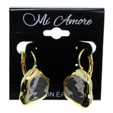 Gold-Tone & White Colored Metal Clip-On-Earrings With Stone Accents #2175
