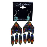 Colorful Metal Dangle-Earrings With Stone Accents #2178