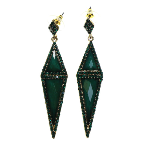Gold-Tone & Green Colored Metal Dangle-Earrings With Faceted Accents #2183