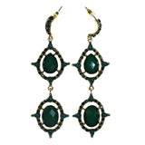 Gold-Tone & Green Colored Metal Dangle-Earrings With Faceted Accents #2186