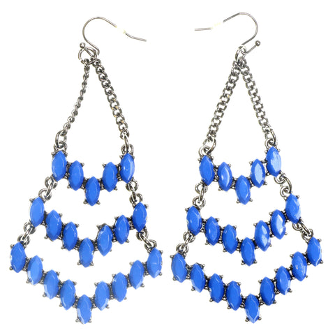Silver-Tone & Blue Colored Metal Dangle-Earrings With Stone Accents #2191