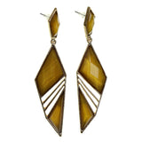 Gold-Tone Metal Dangle-Earrings With Faceted Accents #2192