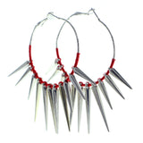 Spike String Hoop-Earrings With Bead Accents Silver-Tone & Red Colored #611