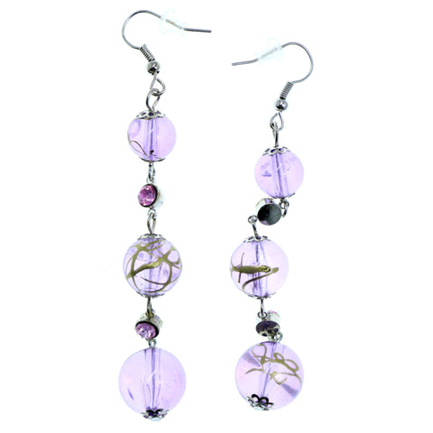 Purple & Silver-Tone Colored Metal Dangle-Earrings With Bead Accents #2195