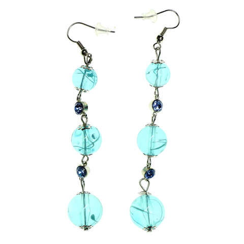 Blue & Silver-Tone Colored Metal Dangle-Earrings With Bead Accents #2196