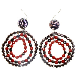 Brown & Red Colored Acrylic Dangle-Earrings #2203