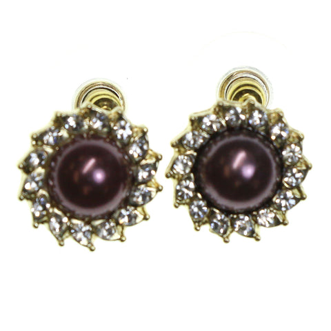 Gold-Tone & Purple Colored Metal Stud-Earrings With Stone Accents #2204