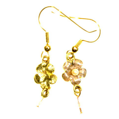 Flower Dangle-Earrings With Crystal Accents Gold-Tone & Multi Colored #2205
