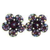 Colorful Metal Stud-Earrings With Crystal Accents #2213