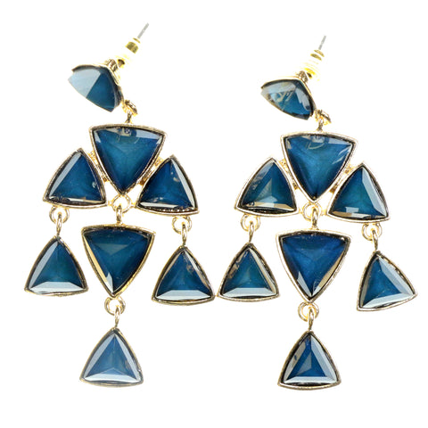 Gold-Tone & Blue Colored Metal Dangle-Earrings With Faceted Accents #2214