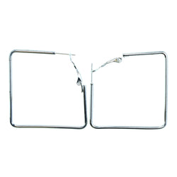Squares Clip-On-Earrings Silver-Tone Color  #2222