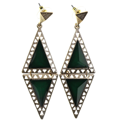 Gold-Tone & Green Colored Metal Dangle-Earrings With Faceted Accents #2223