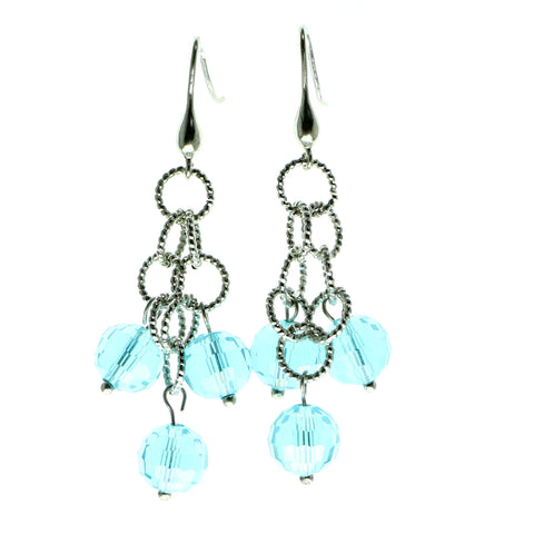 Silver-Tone & Blue Colored Metal Dangle-Earrings With Faceted Accents #613