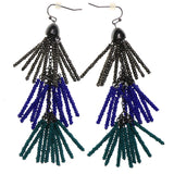 Gray & Multi Colored Metal Dangle-Earrings With Bead Accents #2228