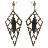 Drop-Dangle Earrings With Crystal Accents Black & Gold-Tone Colored #2234