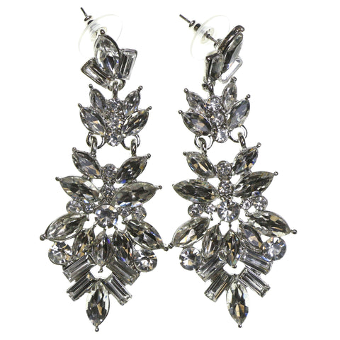 Silver-Tone & Clear Colored Metal Dangle-Earrings With Faceted Accents #2235