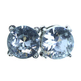Silver-Tone Metal Stud-Earrings With Crystal Accents #2241