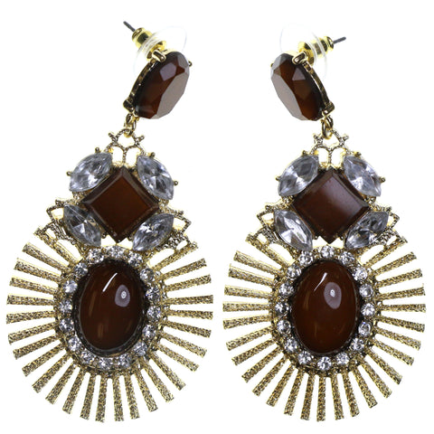 Gold-Tone & Brown Colored Metal Dangle-Earrings With Stone Accents #2247