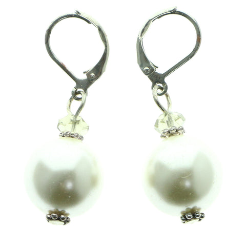 Silver-Tone & White Colored Metal Drop-Dangle-Earrings With Bead Accents #616