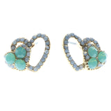 Heart Stud-Earrings With Crystal Accents Gold-Tone & Green Colored #618