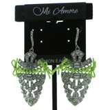Silver-Tone & Green Colored Metal Dangle-Earrings With Crystal Accents #619