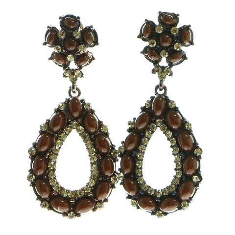 Bronze-Tone & Brown Colored Metal Dangle-Earrings With Bead Accents #620
