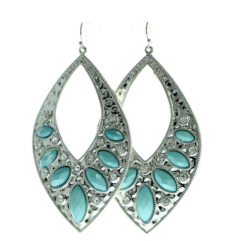 Silver-Tone & Blue Colored Metal Dangle-Earrings With Crystal Accents #624
