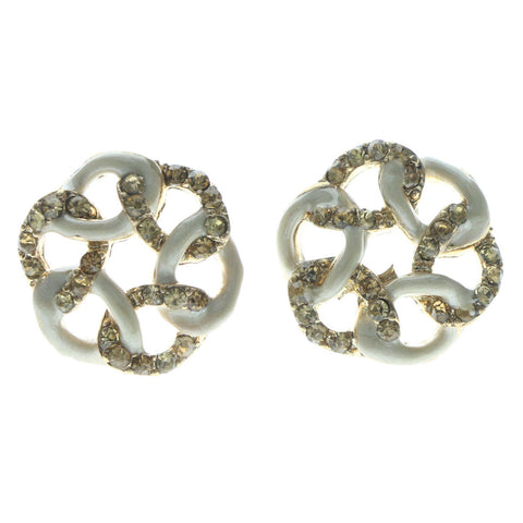 White & Gold-Tone Colored Metal Stud-Earrings With Crystal Accents #626