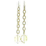 Gold-Tone & Clear Colored Metal Drop-Dangle-Earrings With Faceted Accents #627