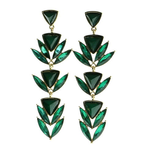 Gold-Tone & Green Colored Metal Drop-Dangle-Earrings With Faceted Accents #630