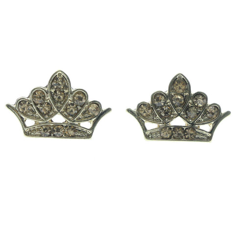 Crown Stud-Earrings With Crystal Accents Gold-Tone & Yellow Colored #634