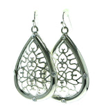 Silver-Tone Metal Dangle-Earrings With Crystal Accents #637