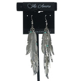 Feather Dangle-Earrings Silver-Tone & Blue Colored #649