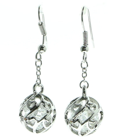 Silver-Tone & Clear Colored Metal Drop-Dangle-Earrings With Faceted Accents #651