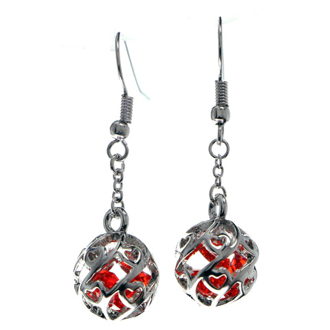 Silver-Tone & Red Colored Metal Dangle-Earrings With Faceted Accents #653