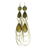 Filigree Drop-Dangle-Earrings With Faceted Accents Gold-Tone & Yellow Colored #656
